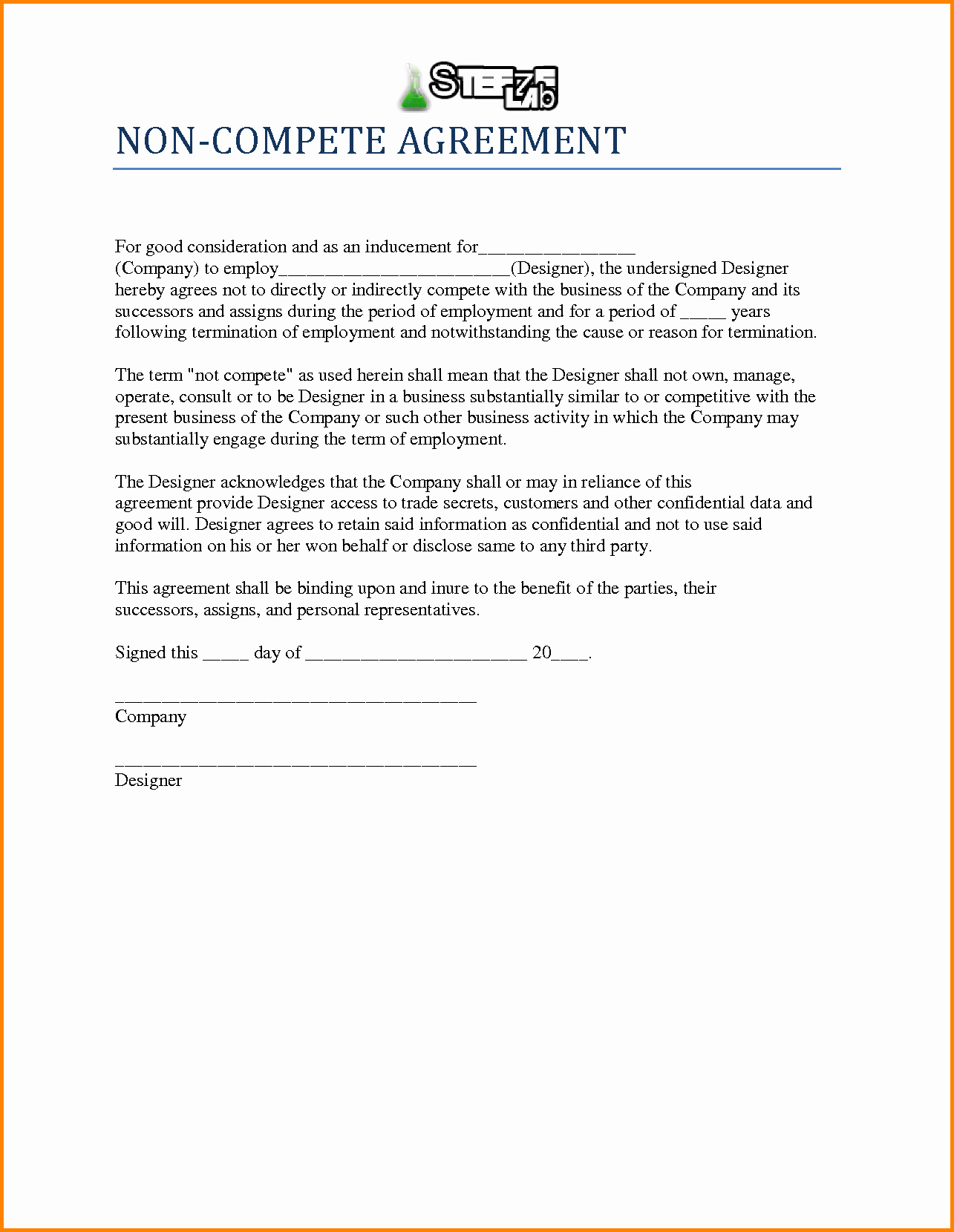Employee Non Compete Agreement Template Best Of Agreement Non Pete Agreement form