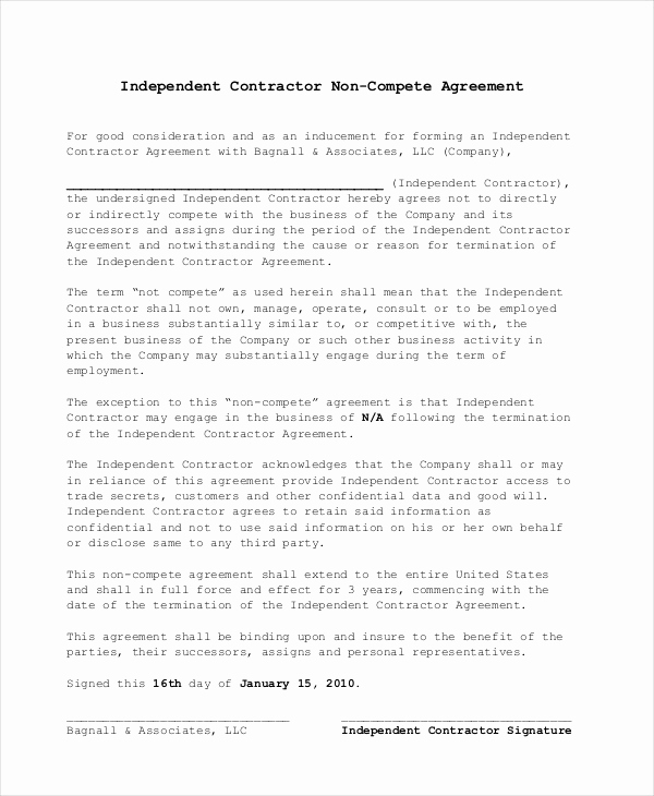 Employee Non Compete Agreement Template Best Of Non Pete Agreement 11 Free Word Pdf Documents