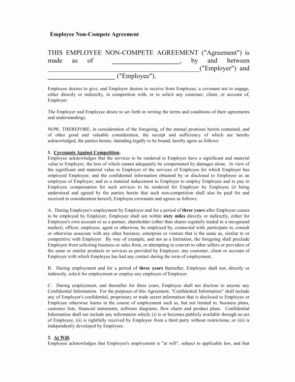 Employee Non Compete Agreement Template Elegant 21 Non Disclosure and Non Pete Agreement Template