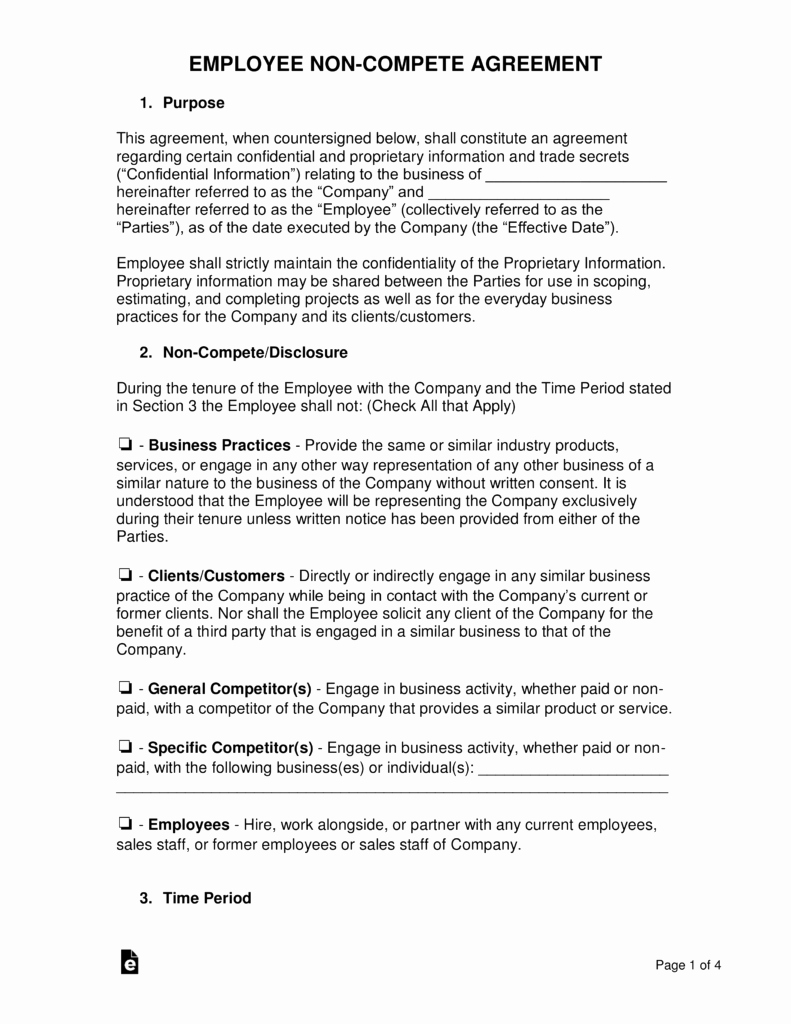 Employee Non Compete Agreement Template Elegant Employee Non Pete Agreement Template