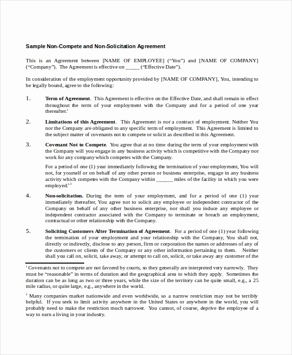 Employee Non Compete Agreement Template Fresh 13 Non Pete Agreements Free Word Pdf format