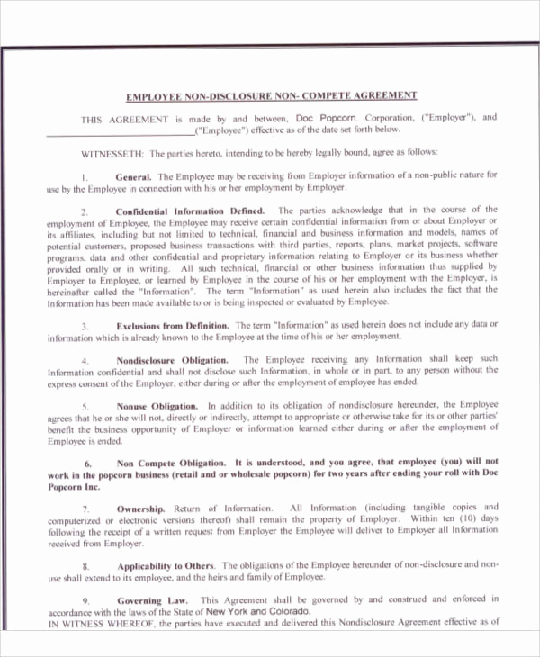 Employee Non Compete Agreement Template Inspirational 58 Printable Agreement Samples