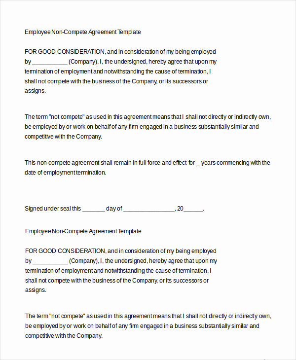 Employee Non Compete Agreement Template Inspirational Employment Agreement Template 22 Free Word Pdf format
