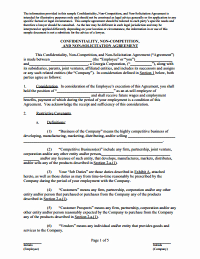 Employee Non Compete Agreement Template Inspirational Non Pete Agreement Free Download Create Edit Fill