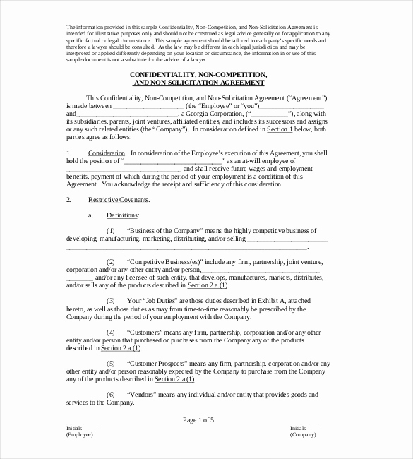 Employee Non Compete Agreement Template Inspirational Non Pete Agreement Template – 10 Free Word Excel Pdf