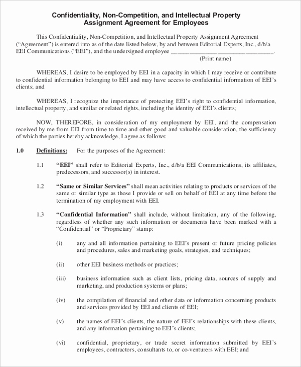 Employee Non Compete Agreement Template Lovely 11 Business Non Pete Agreement Templates Free Sample