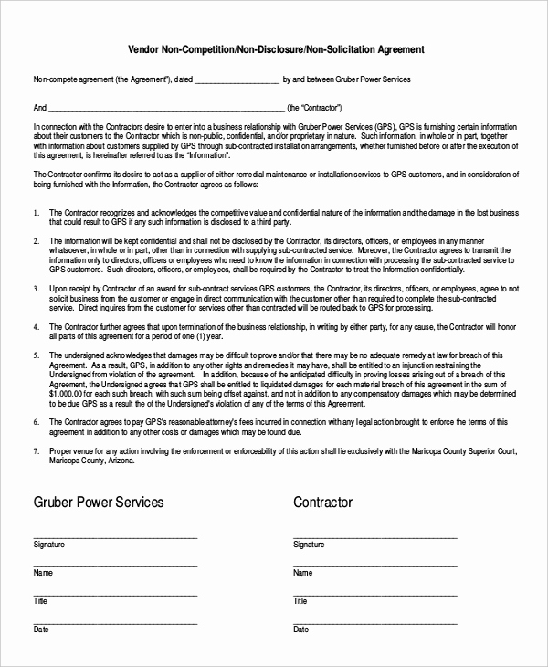 Employee Non Compete Agreement Template Lovely Employee Non Pete Agreement – 10 Free Word Pdf