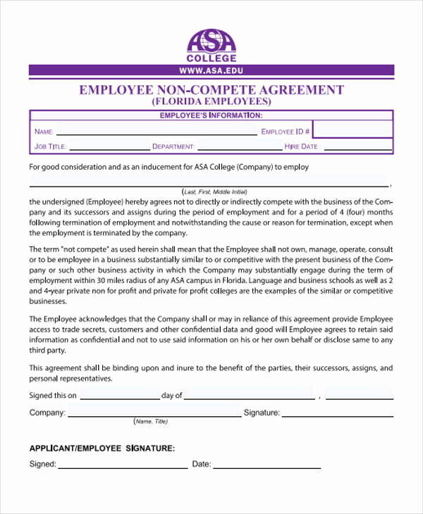 Employee Non Compete Agreement Template Luxury 40 Free Sample Agreements