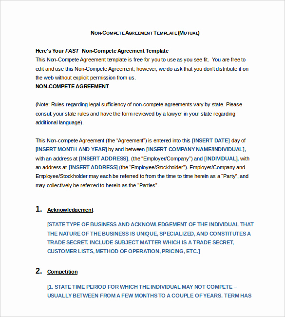 Employee Non Compete Agreement Template Luxury 8 Non Pete Agreement Templates Doc Pdf