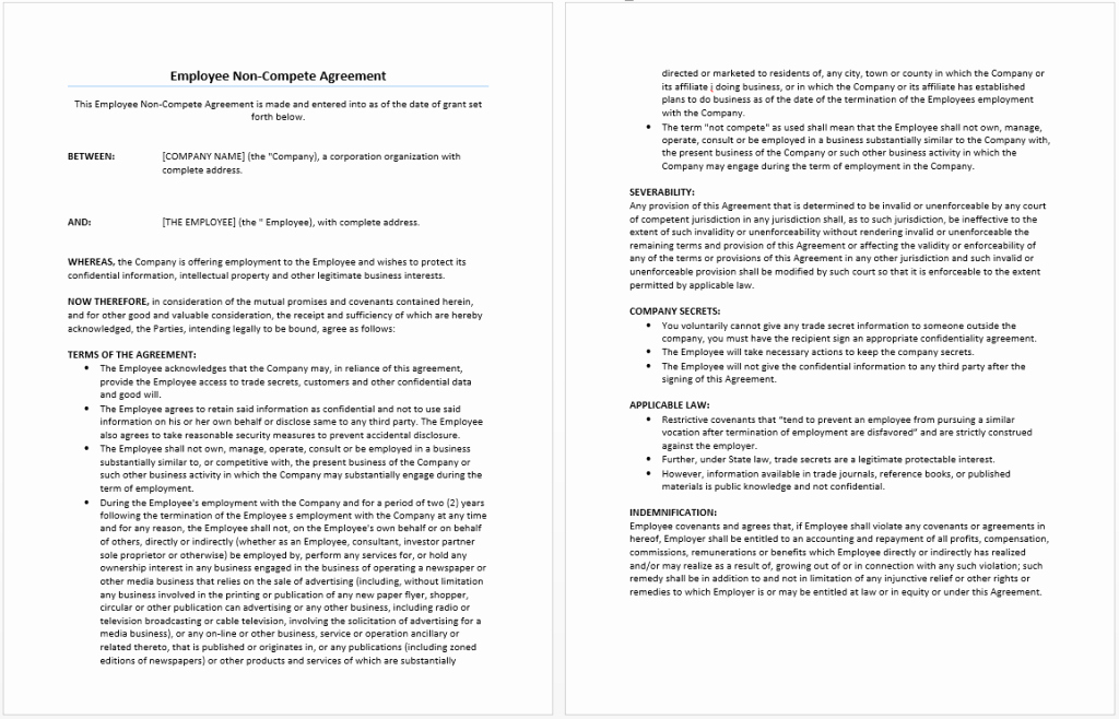 Employee Non Compete Agreement Template New Employee Non Pete Agreement Template Word Templates