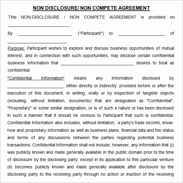 Employee Non Compete Agreement Template New Non Pete Agreement 7 Free Pdf Doc Download