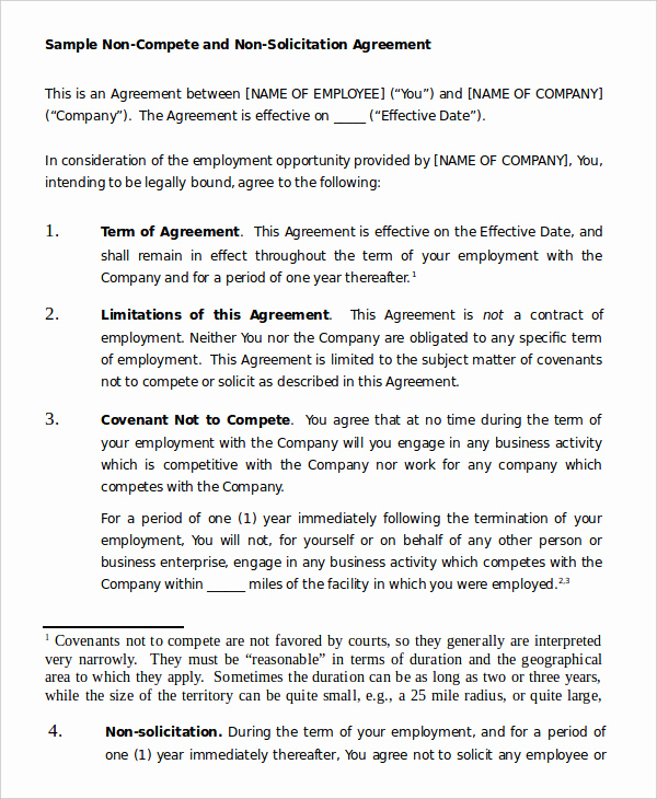 Employee Non Compete Agreement Template New Non Pete Agreement Template 9 Free Sample Example
