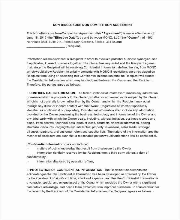 Employee Non Compete Agreement Template Unique 13 Non Pete Agreements Free Word Pdf format