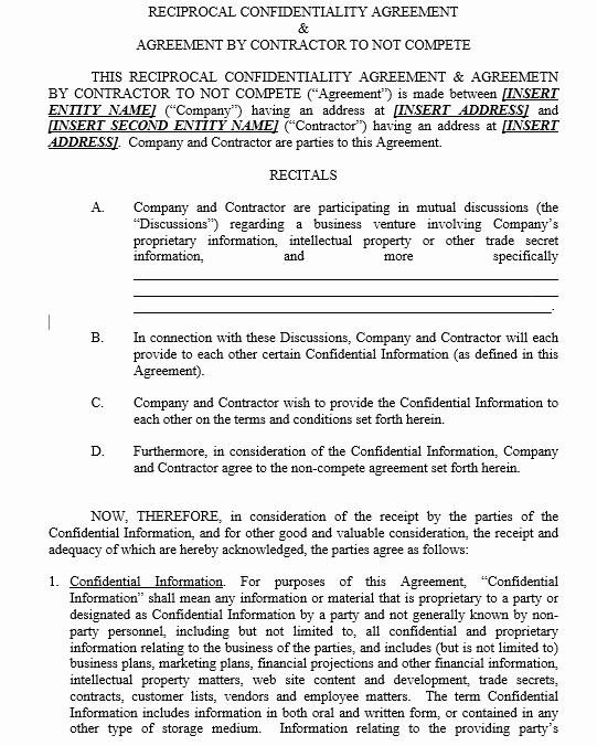 Employee Non Compete Agreement Template Unique 19 Free Employee Non Pete Agreement Templates