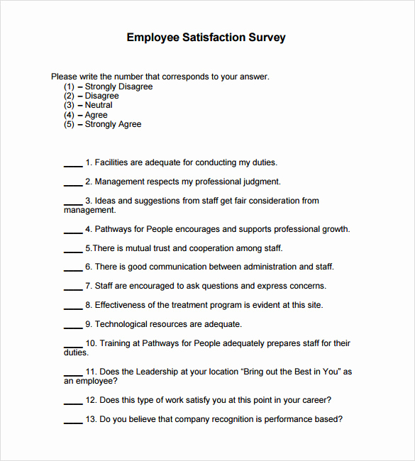 Employee Satisfaction Survey Template Beautiful 6 Employee Satisfaction Survey Samples