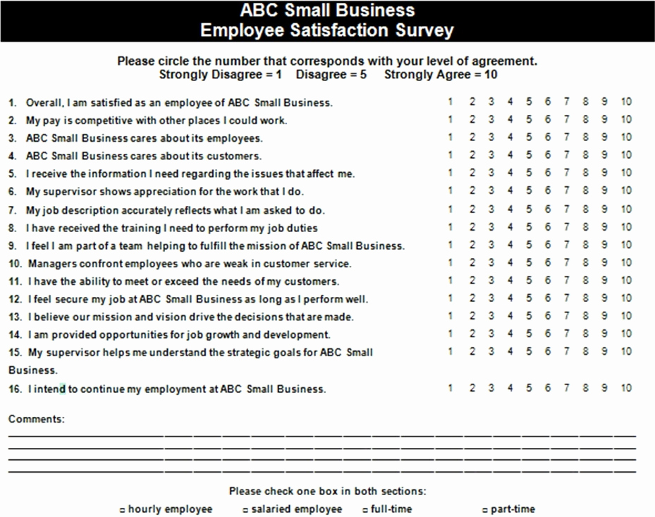 Employee Satisfaction Survey Template Beautiful Employee Satisfaction Survey Example — the Thriving Small