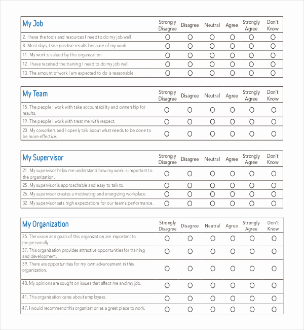 Employee Satisfaction Survey Template Elegant 25 Employee Surveys