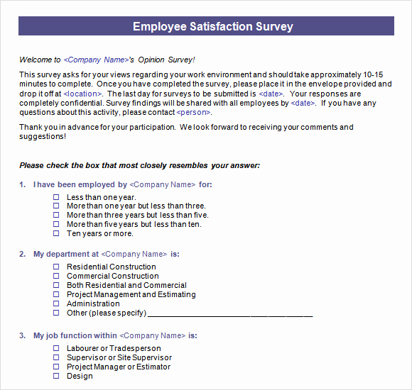 Employee Satisfaction Survey Template Elegant Employee Satisfaction Survey 16 Download Free Documents