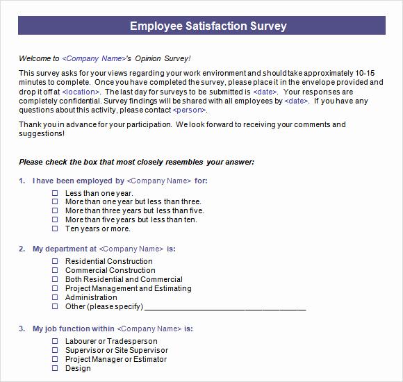 Employee Satisfaction Survey Template Elegant Employee Satisfaction Survey 16 Download Free Documents