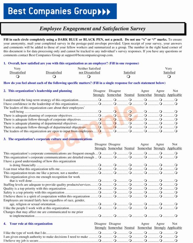 Employee Satisfaction Survey Template Fresh Employee Satisfaction Survey Sample and Templates