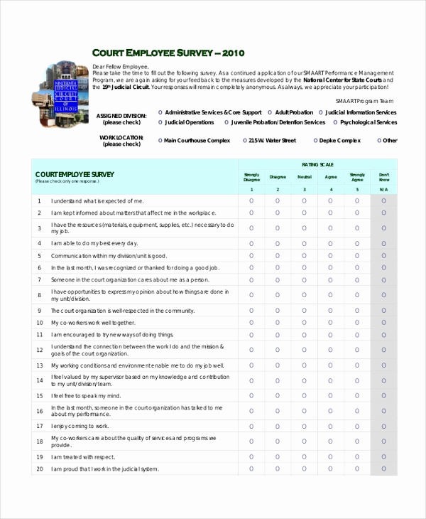 Employee Satisfaction Survey Template Fresh Sample Employee Satisfaction Survey form 9 Free
