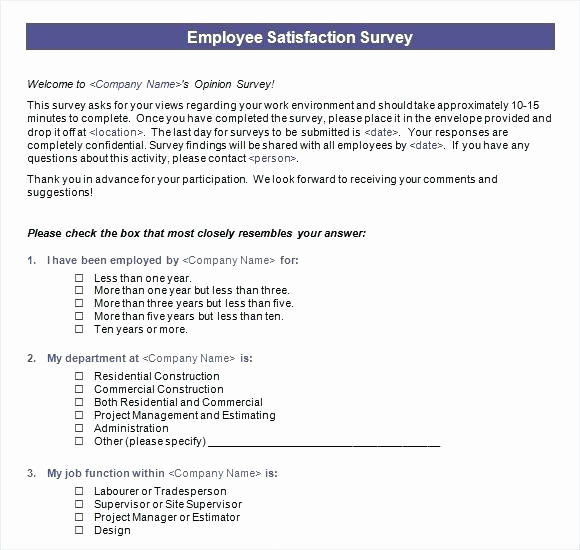 Employee Satisfaction Survey Template Inspirational Employee Satisfaction Survey Template Word Questionnaire