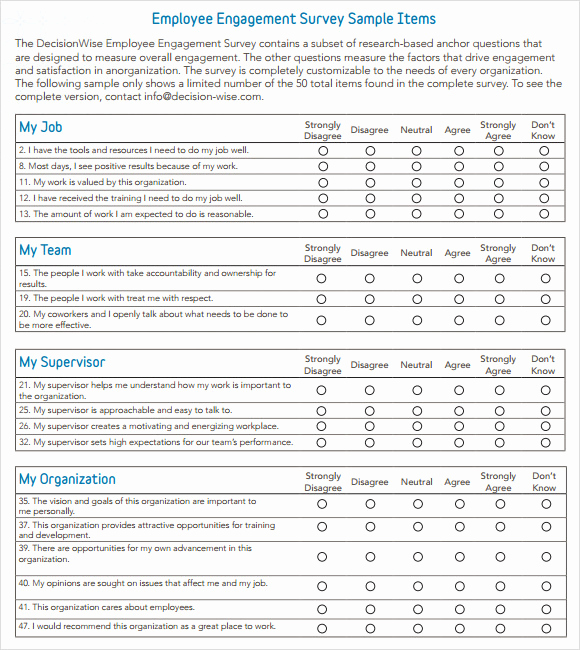 Employee Satisfaction Survey Template Lovely Employee Engagement Survey Question Examples Templates