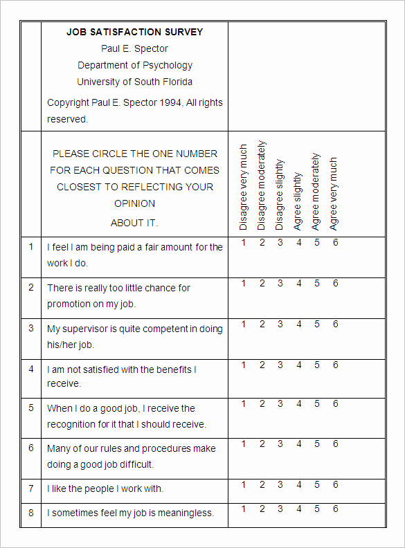 Employee Satisfaction Survey Template Lovely Survey Templates – 27 Free Word Pdf Documents Download