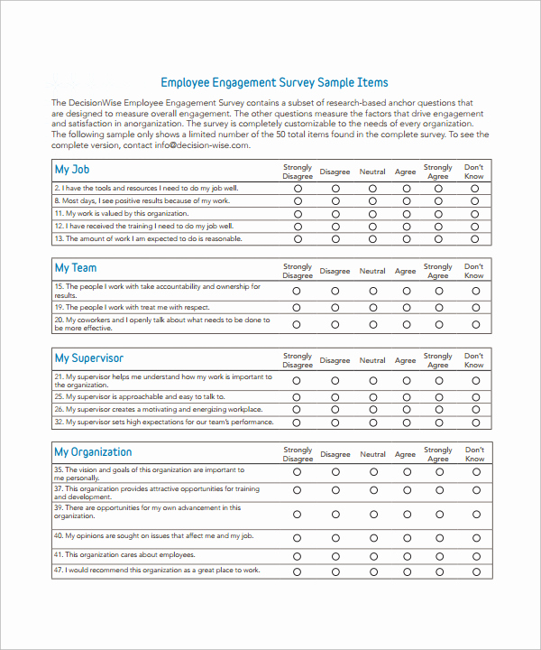 Employee Satisfaction Survey Template New Employee Survey Questions Work Environment