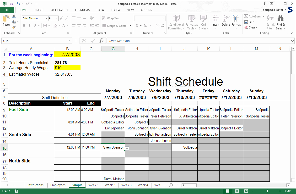 Excel Shift Schedule Template Awesome Download Shift Scheduler for Excel 1