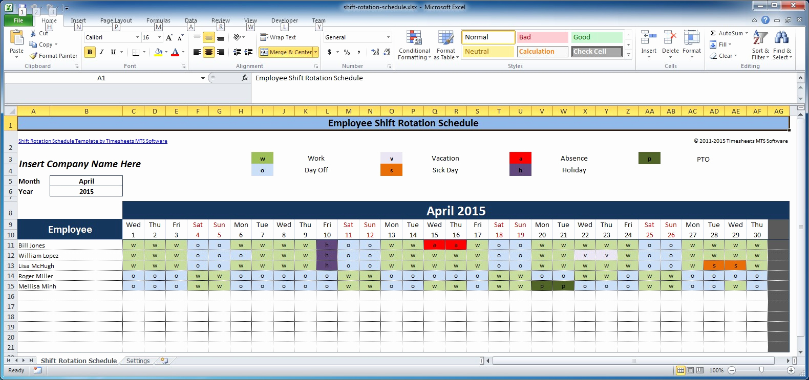 Excel Shift Schedule Template Beautiful Free Employee and Shift Schedule Templates
