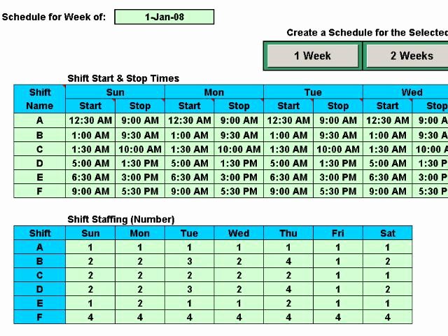 Excel Shift Schedule Template Beautiful Scheduling Spreadsheets for 100 Employees Bed34