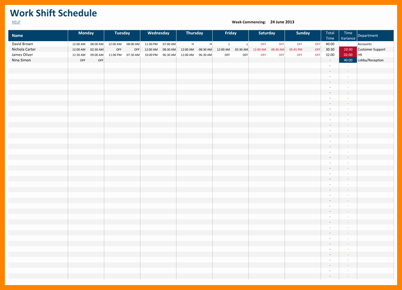 Excel Shift Schedule Template Elegant 6 Excel 24 Hour Schedule Template