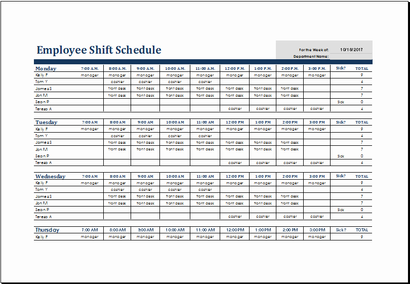 Excel Shift Schedule Template Elegant Excel Shift Schedule Template