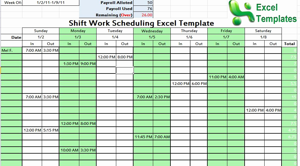 Excel Shift Schedule Template Elegant Shift Work Scheduling Excel Template