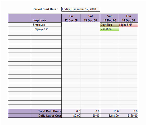 Excel Shift Schedule Template Fresh Free Weekly Employee Schedule Template Excel
