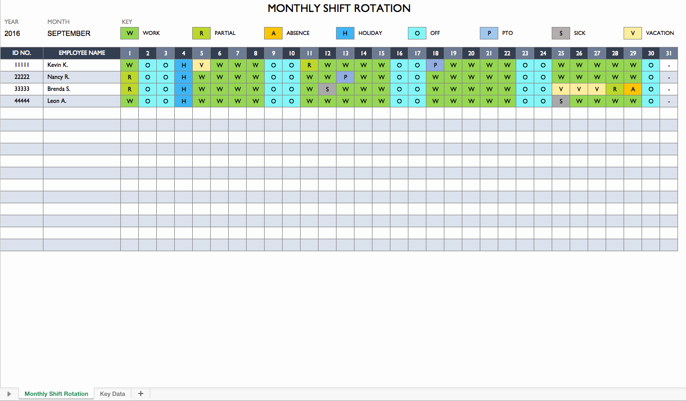 Excel Shift Schedule Template Fresh Rotating Schedule Maker
