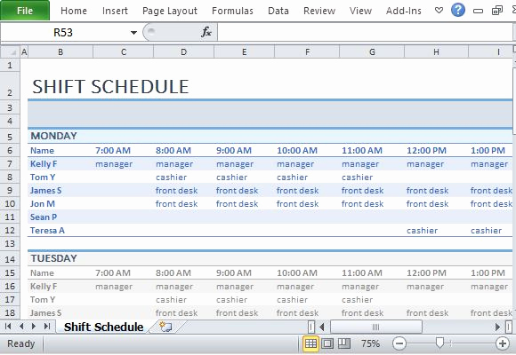 Excel Shift Schedule Template Lovely Employee Shift Schedule Template for Excel