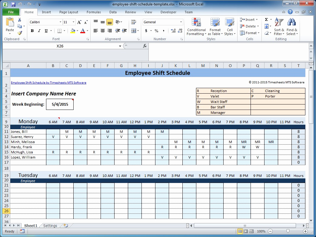 Excel Shift Schedule Template Luxury Free Employee and Shift Schedule Templates