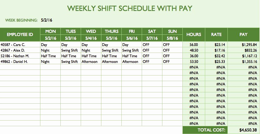 Excel Shift Schedule Template New Free Work Schedule Templates for Word and Excel