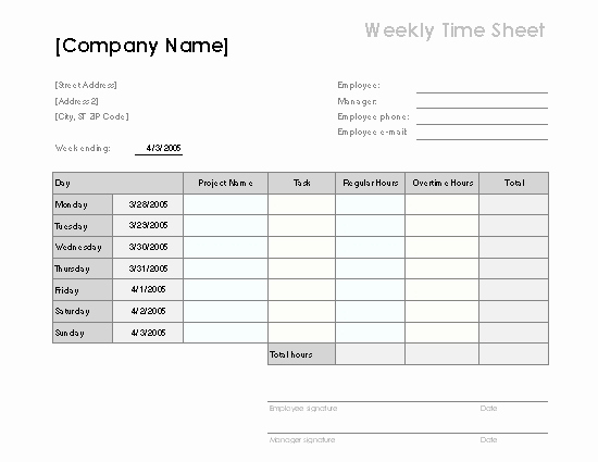 Excel Timesheet Template with Tasks Inspirational Weekly Timesheet Template Excel