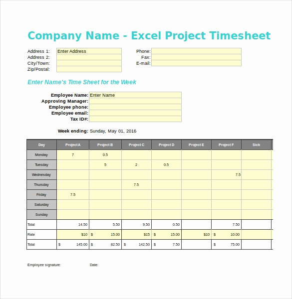 Excel Timesheet Template with Tasks Unique 20 Project Timesheet Templates & Samples Doc Pdf