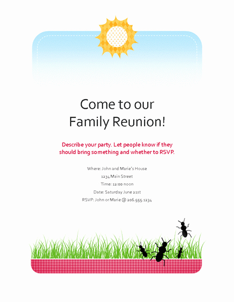 Family Reunion Flyers Templates Beautiful Free Party Invitation Template Brochure Templates Free