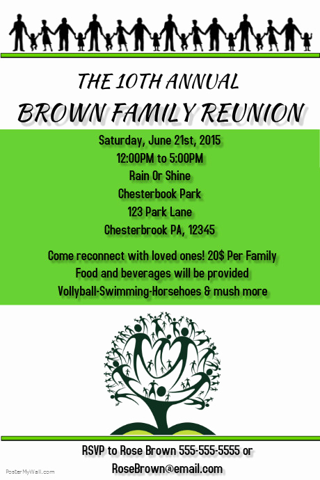 Family Reunion Flyers Templates Elegant Family Reunion Template