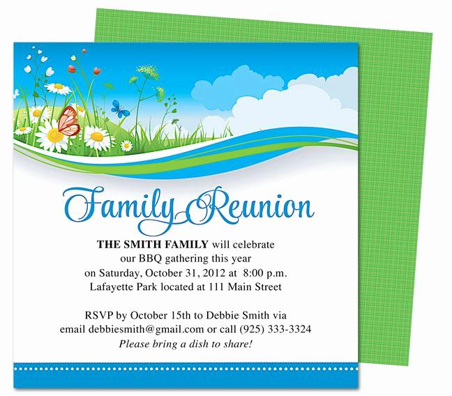 Family Reunion Flyers Templates Elegant Summer Breeze Family Reunion Party Invitation Templates