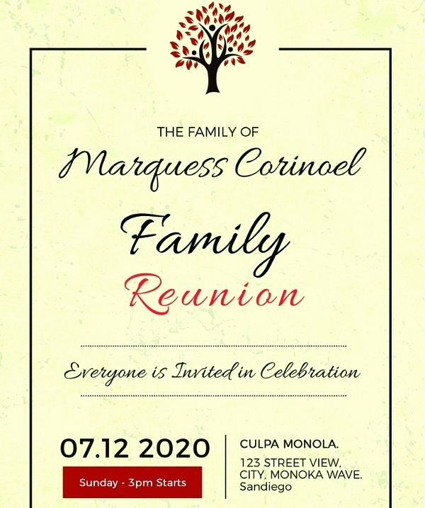 Family Reunion Flyers Templates Inspirational Free Family Reunion Flyer Template Vintage Family Reunion