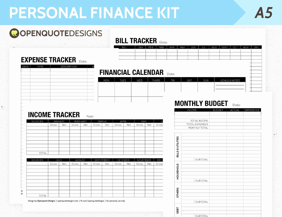 Financial Plan Template Excel Inspirational A5 Filofax Finance Printable Personal Finance Kit Monthly