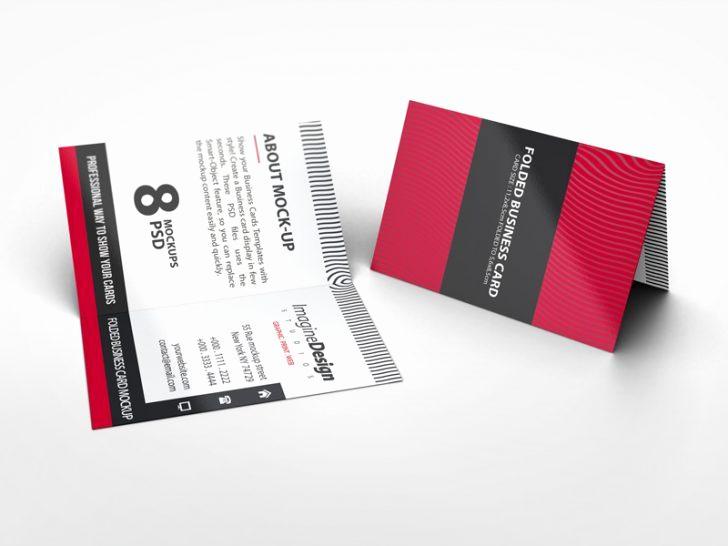 Folding Business Cards Template Awesome Folded Postcard Mockup