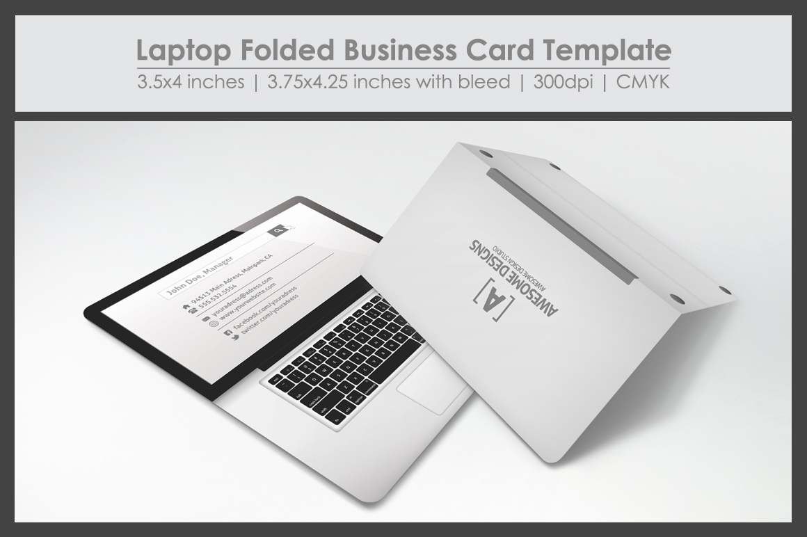 Folding Business Cards Template Unique Laptop Folded Business Card Template Business Card