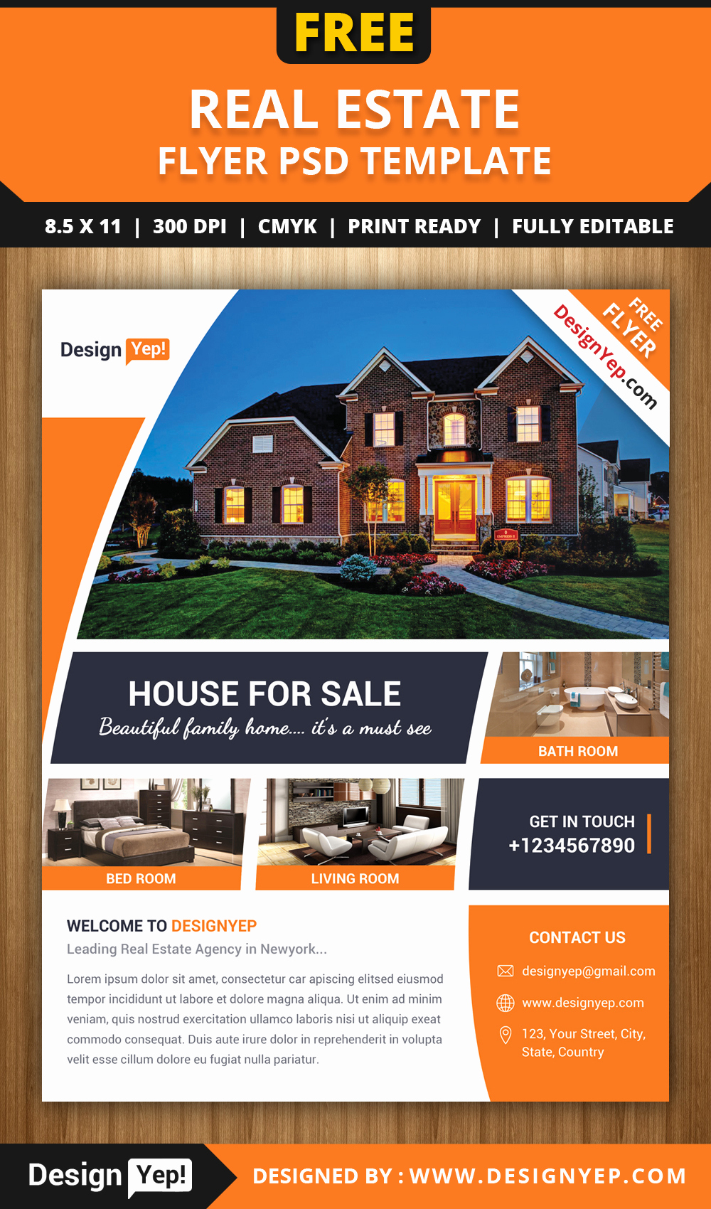 Free Download Flyer Template Awesome Free Real Estate Flyer Psd Template Designyep